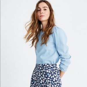 Madewell chambray long sleeve top tie back small